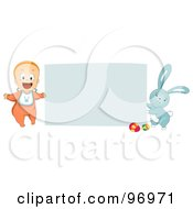 Happy Baby And Easter Bunny Holding Up A Blank Sign