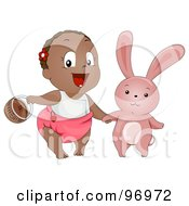 Black Baby Girl Carrying A Basket And Holding Hands With An Easter Bunny