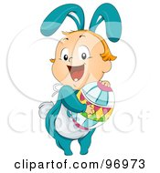 Royalty Free RF Clipart Illustration Of A Baby Boy In A Bunny Costume Hugging An Easter Egg by BNP Design Studio