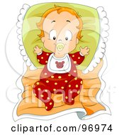 Red Haired Baby Boy In Pajamas Leaning Against A Pillow On A Blanket by BNP Design Studio