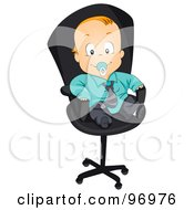 Royalty Free RF Clipart Illustration Of A Red Haired Baby Boy In A Suit Sitting In An Office Chair by BNP Design Studio
