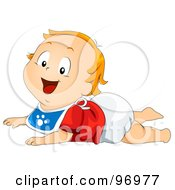 Royalty Free RF Clipart Illustration Of A Red Haired Baby Boy In A Bib Resting On His Belly On The Floor