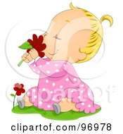 Blond Baby Girl Sitting In Grass And Smelling A Red Daisy by BNP Design Studio