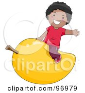 Royalty Free RF Clipart Illustration Of A Happy Black Boy Straddling A Giant Mango by BNP Design Studio
