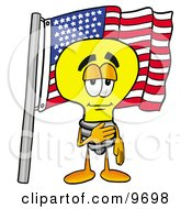 Clipart Picture Of A Light Bulb Mascot Cartoon Character Pledging Allegiance To An American Flag