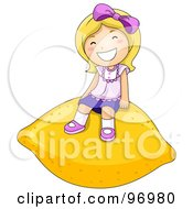 Royalty Free RF Clipart Illustration Of A Happy Blond Girl Sitting On A Giant Lemon