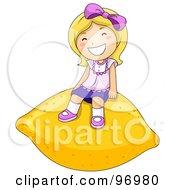 Happy Blond Girl Sitting On A Giant Lemon by BNP Design Studio