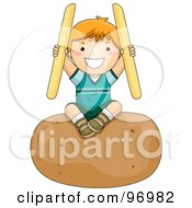Royalty Free RF Clipart Illustration Of A Happy Red Haired Boy Holding French Fries And Sitting On A Giant Potato by BNP Design Studio