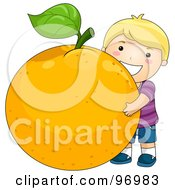 Royalty Free RF Clipart Illustration Of A Happy Blond Boy Hugging A Giant Orange