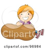 Royalty Free RF Clipart Illustration Of A Happy Red Haired Boy Sitting Behind A Giant Peanut by BNP Design Studio