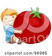 Royalty Free RF Clipart Illustration Of A Happy Red Haired Boy Hugging A Giant Tomato by BNP Design Studio