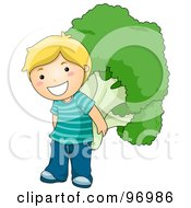 Royalty Free RF Clipart Illustration Of A Happy Blond Boy Carrying A Giant Broccoli Floret On His Back by BNP Design Studio
