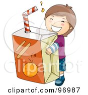 Royalty Free RF Clipart Illustration Of A Happy Brunette Boy Carrying A Giant Orange Juice Box by BNP Design Studio