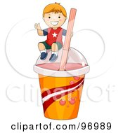 Royalty Free RF Clipart Illustration Of A Happy Red Haired Boy Sitting On Top Of A Giant Slushy Cup by BNP Design Studio