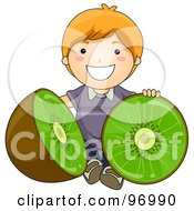 Royalty Free RF Clipart Illustration Of A Happy Red Haired Boy Sitting With A Halved Giant Kiwi by BNP Design Studio