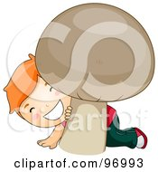 Royalty Free RF Clipart Illustration Of A Red Haired Boy Smiling And Peeking Behind A Giant Mushroom by BNP Design Studio