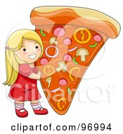 Royalty Free RF Clipart Illustration Of A Happy Blond Girl Holding Up A Giant Slice Of Pizza