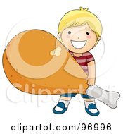 Royalty Free RF Clipart Illustration Of A Happy Blond Boy Carrying A Giant Fried Chicken Drumstick