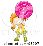 Royalty Free RF Clipart Illustration Of A Happy Red Haired Girl Carrying A Giant Loli Pop