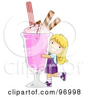 Royalty Free RF Clipart Illustration Of A Happy Blond Girl Hugging A Giant Strawberry Milkshake by BNP Design Studio