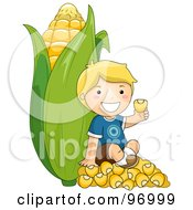 Blond Boy Sitting On Kernels And Leaning Against A Giant Ear Of Corn