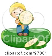 Royalty Free RF Clipart Illustration Of A Blond Boy Sitting On Top Of A Giant Cucumber And Holding A Slice by BNP Design Studio