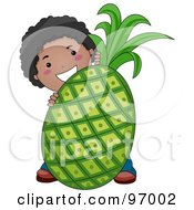 Royalty Free RF Clipart Illustration Of A Happy Black Boy Standing Behind A Giant Pineapple