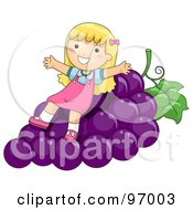Royalty Free RF Clipart Illustration Of A Happy Blond Girl Sitting On Giant Purple Grapes by BNP Design Studio