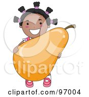 Royalty Free RF Clipart Illustration Of A Happy Black Girl Carrying A Giant Pear