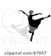 Royalty Free RF Clipart Illustration Of A Graceful Black Ballerina Silhouette Dancing With A Shadow by Pams Clipart