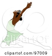Royalty Free RF Clipart Illustration Of A Graceful Black Ballerina Lunging On One Knee