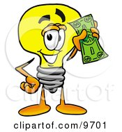 Clipart Picture Of A Light Bulb Mascot Cartoon Character Holding A Dollar Bill