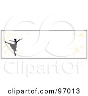Royalty Free RF Clipart Illustration Of A Ballet Border Of A Silhouetted Ballerina With Fireworks Over White by Pams Clipart