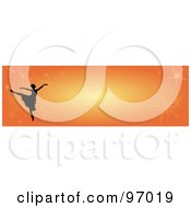 Royalty Free RF Clipart Illustration Of A Ballet Border Of A Silhouetted Ballerina With Fireworks On Orange by Pams Clipart