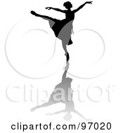 Royalty Free RF Clipart Illustration Of A Black Ballerina Silhouette Gracefully Dancing With A Shadow by Pams Clipart