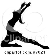 Royalty Free RF Clipart Illustration Of A Black Silhouetted Ballerina Lunging Onto Her Knee