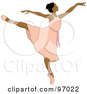 Royalty Free RF Clipart Illustration Of A Beautiful Indian Ballerina Dancing In A Pink Dress