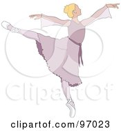 Royalty Free RF Clipart Illustration Of A Beautiful Blond Ballerina Dancing In A Purple Dress