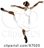 Royalty Free RF Clipart Illustration Of A Beautiful African Ballerina Dancing In A White Dress by Pams Clipart