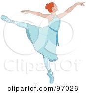 Royalty Free RF Clipart Illustration Of A Beautiful Irish Ballerina Dancing In A Blue Dress