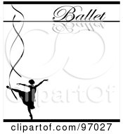 Royalty Free RF Clipart Illustration Of A Ballet Background With A Silhouetted Ballerina And Ribbons Over White by Pams Clipart