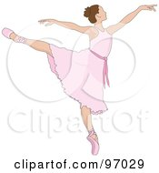 Royalty Free RF Clipart Illustration Of A Beautiful Brunette Ballerina Dancing In A Pink Dress by Pams Clipart