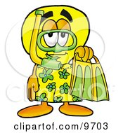 Light Bulb Mascot Cartoon Character In Green And Yellow Snorkel Gear