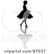 Royalty Free RF Clipart Illustration Of A Little Girl Ballerina Silhouette With A Shadow by Pams Clipart