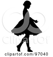 Royalty Free RF Clipart Illustration Of A Silhouetted Little Girl Ballerina In A Tutu