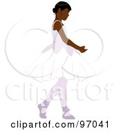 Royalty Free RF Clipart Illustration Of A Black Ballerina Girl Dancing