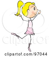 Royalty Free RF Clipart Illustration Of A Blond Stick Girl Ballerina In A Pink Tutu by Pams Clipart