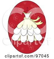 Royalty Free RF Clipart Illustration Of A Cream And Yellow Wedding Dress On A Hanger Over A Red Floral Oval by Pams Clipart