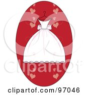 Royalty Free RF Clipart Illustration Of A White And Pink Wedding Dress On A Hanger Over A Red Heart Oval