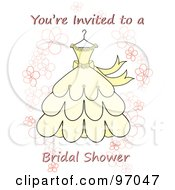 Royalty Free RF Clipart Illustration Of A Youre Invited To A Bridal Shower Invitation With Flowers And A Yellow Wedding Dress